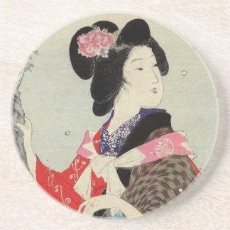 Porta-copos De Arenito Arte japonesa da senhora Suzuki Kason Sakura Japão