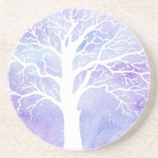 Porta-copos De Arenito Árvore do inverno da aguarela na neve