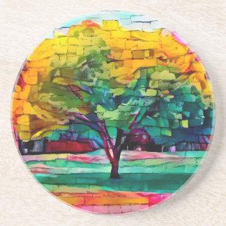 Porta-copos De Arenito Árvore do outono em cores vívidas