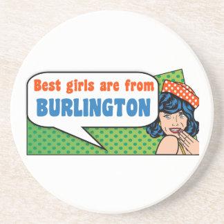 Porta-copos De Arenito As melhores meninas são de Burlington