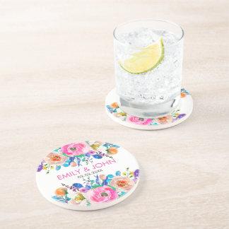 Porta-copos De Arenito As rosas coloridas da aguarela salvar a data