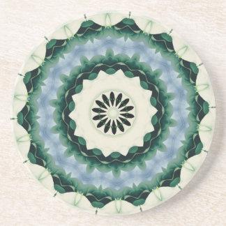 Porta-copos De Arenito Azul Cerulean e mandala verde de Sacramento