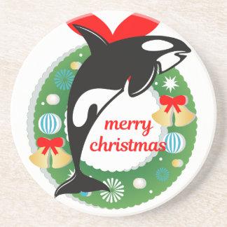 Porta-copos De Arenito baleia de assassino do Feliz Natal