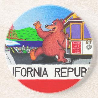 Porta-copos De Arenito Bandeira 2 do urso de San Francisco Califórnia
