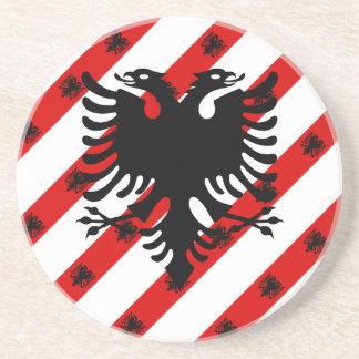Porta-copos De Arenito Bandeira albanesa das listras
