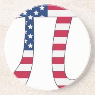 Porta-copos De Arenito Bandeira americana do dia do Pi, símbolo do pi