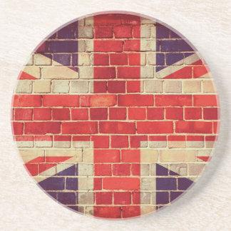 Porta-copos De Arenito Bandeira BRITÂNICA do vintage em uma parede de