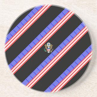 Porta-copos De Arenito Bandeira das listras dos Estados Unidos