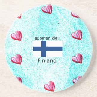 Porta-copos De Arenito Bandeira de Finlandia e design finlandês da língua