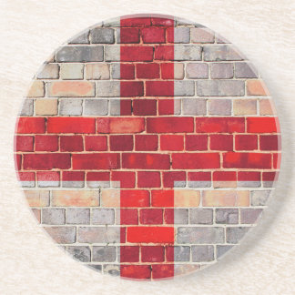 Porta-copos De Arenito Bandeira de Inglaterra em uma parede de tijolo