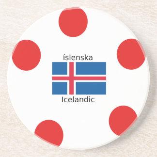 Porta-copos De Arenito Bandeira de Islândia e design islandês da língua