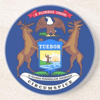 Porta-copos De Arenito Bandeira de Michigan