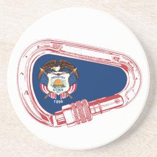 Porta-copos De Arenito Bandeira de Utá que escala Carabiner