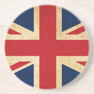 Porta-copos De Arenito Bandeira velha Union Jack de Reino Unido do Grunge