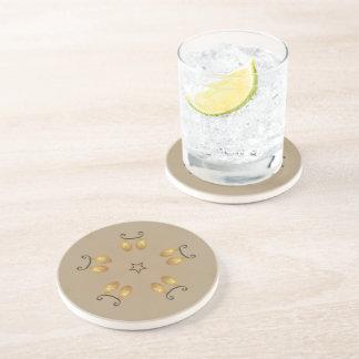 Porta-copos De Arenito Bege rústico dos ovos da páscoa dourados amarelos