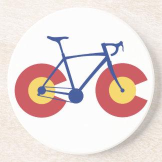 Porta-copos De Arenito Bicicleta da bandeira de Colorado