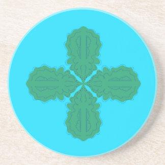 Porta-copos De Arenito Bio azul da mandala do design