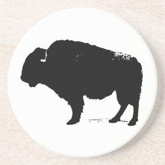 Porta-copos De Arenito Bisonte preto & branco do búfalo do pop art
