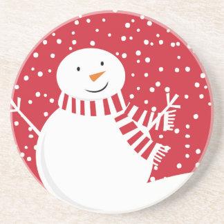 Porta-copos De Arenito boneco de neve vermelho e branco contemporâneo