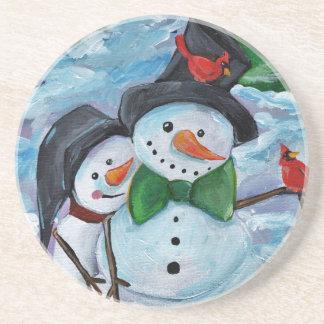 Porta-copos De Arenito Bonecos de neve de visita cardinais