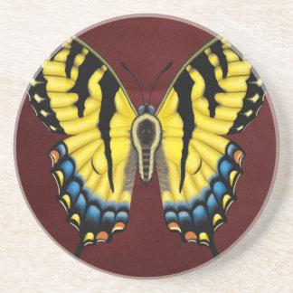 Porta-copos De Arenito Borboleta de Swallowtail do tigre