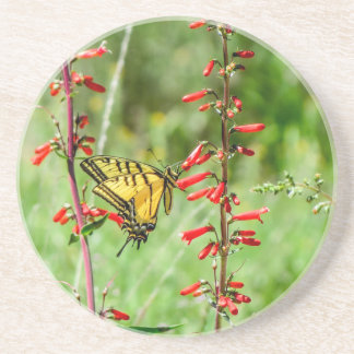 Porta-copos De Arenito Borboleta e Wildflowers de Swallowtail do tigre