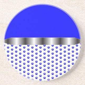 Porta-copos De Arenito branco azul do metal de prata