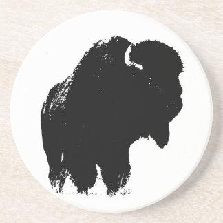 Porta-copos De Arenito Búfalo preto & branco do bisonte do pop art