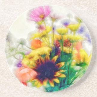Porta-copos De Arenito Buquê do Wildflower do verão