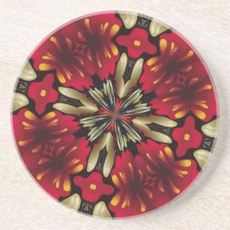 Porta-copos De Arenito Caleidoscópio vermelho tropical da mandala