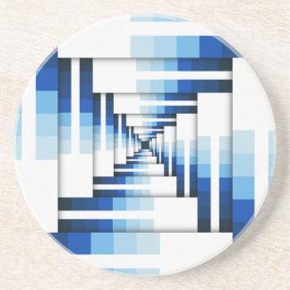 Porta-copos De Arenito Camadas geométricas de azul