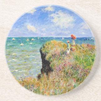 Porta-copos De Arenito Caminhada de Clifftop em Pourville - Claude Monet
