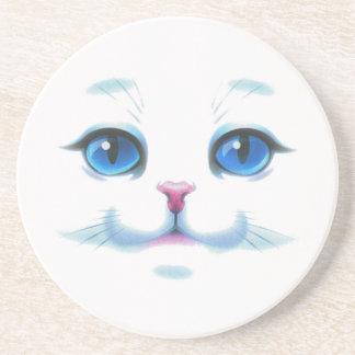 Porta-copos De Arenito Cara branca bonito dos olhos azuis do gato