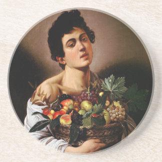 Porta-copos De Arenito Caravaggio - menino com uma cesta de trabalhos de