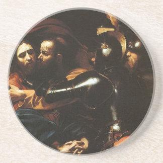 Porta-copos De Arenito Caravaggio - tomada do cristo - trabalhos de arte