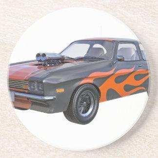 Porta-copos De Arenito carro do músculo dos anos 70 com chama alaranjada