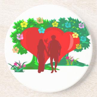 Porta-copos De Arenito casais no coração e em flores vermelhos