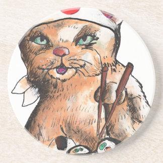 Porta-copos De Arenito cat eating sushi
