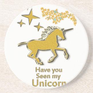 Porta-copos De Arenito Cavalo do pônei do unicórnio do ouro com estrelas