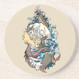 Porta-copos De Arenito cavalo marinho mitológico