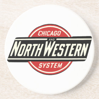 Porta-copos De Arenito Chicago & logotipo do noroeste 1 da estrada de
