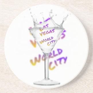 Porta-copos De Arenito Cidade do mundo de Las Vegas, vidro de água