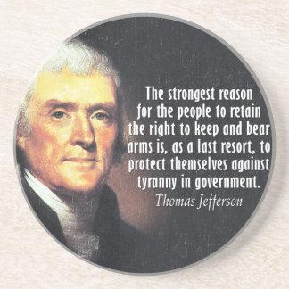 Porta-copos De Arenito Citações de Thomas Jefferson à direita carregar os