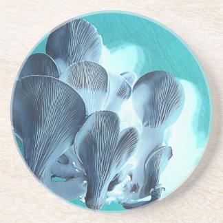 Porta-copos De Arenito Cogumelos de ostra no azul