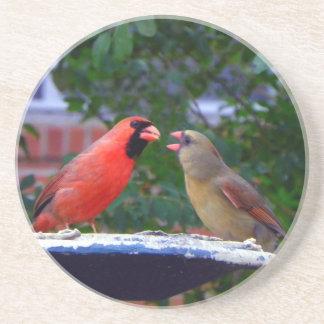Porta-copos De Arenito Comer cardinal do casal