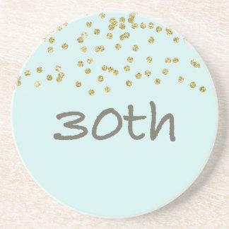 Porta-copos De Arenito Confetes do aniversário de 30 anos