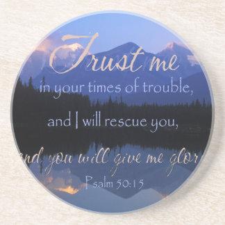 Porta-copos De Arenito Confiança em mim em período do 50:15 dos salmos do