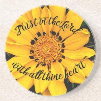 Porta-copos De Arenito Confiança no senhor Brilhante Amarelo Flor