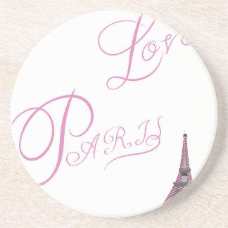 Porta-copos De Arenito Cor-de-rosa-Amor-Paris-Eiffel-Torre-Original