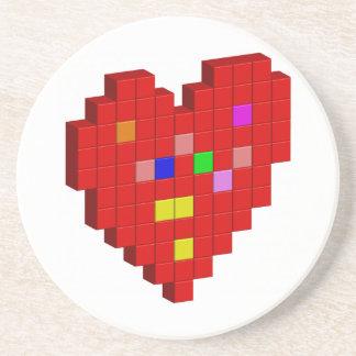 Porta-copos De Arenito coração de 8 bits